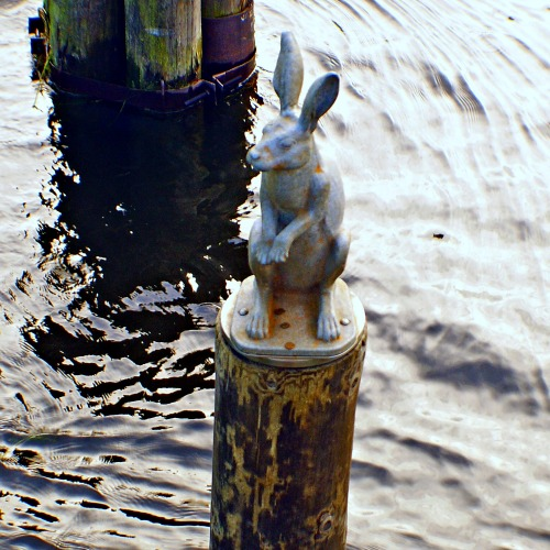 The Hare Escaping Flooding statue.