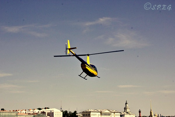 One of our helicopters flying over the city center in St Petersburg, Russia.