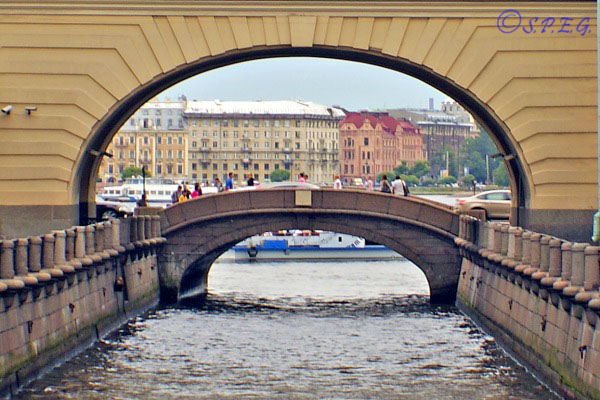 The Hermitage Bridge in St. Petersburg Russia.
