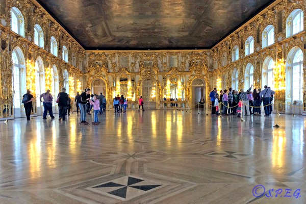 Tourists visiting Catherine Palace in Tsarskoye Selo during Autumn.