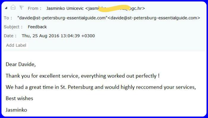 Feedback from Jasminko | August 2016 | Croatia