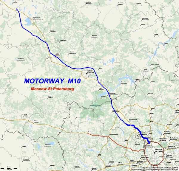 Motorway M10, route Moscow - St Petersburg - Source Wikipedia.