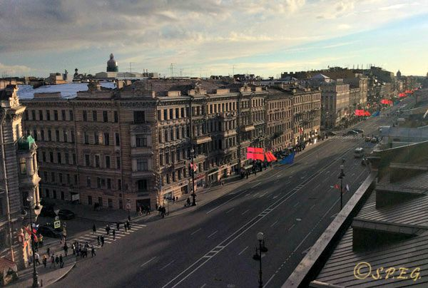 A view of Nevsky Prospekt from the top.