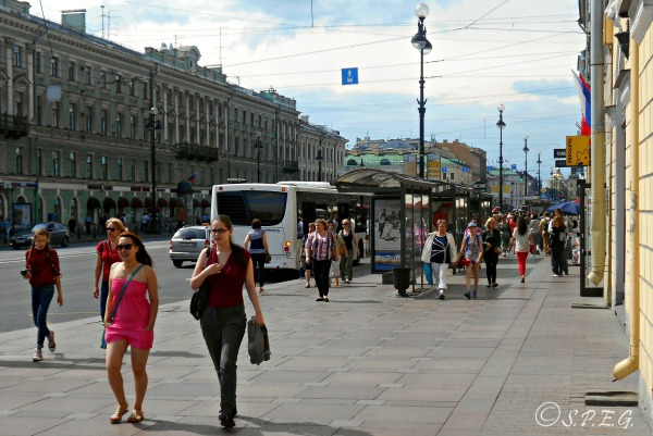 Nevsky Prospekt in the summer, St Petersburg, Russia.