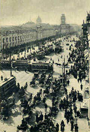 Nevsky Prospekt back in the 1900s. Source: Wikimedia.