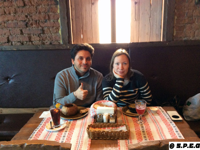 Davide and Anastasia eating at a local restaurant in the town of Pavlovsk.
