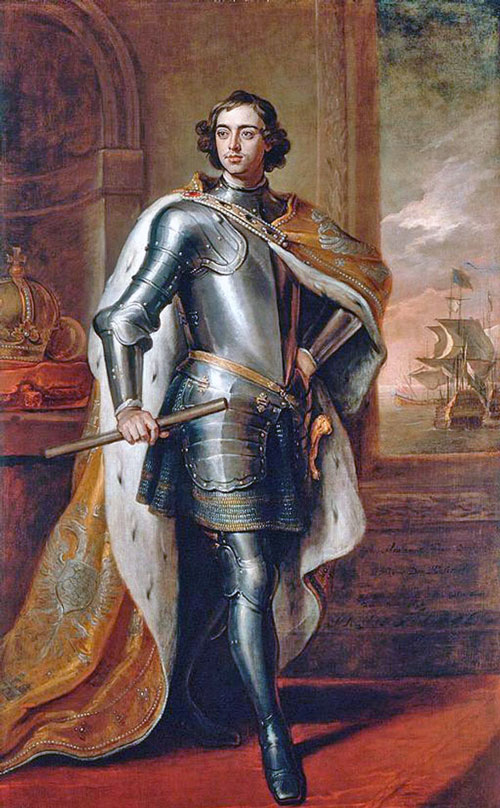Portrait of Peter I by Godfrey Kneller, 1698. This portrait was Peter's gift to the King of England.