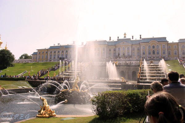 The Grand Palace of Peterhof and the Great Cascade in St Petersburg, Russia.