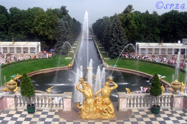 The Grand Cascade in Peterhof outside St. Petersburg Russia.