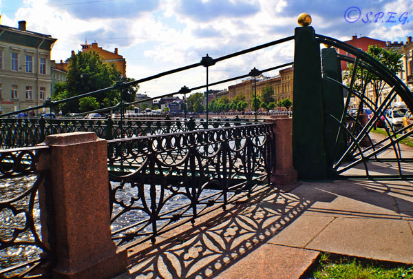 The Pochtamtsky Bridge in St. Petersburg Russia.