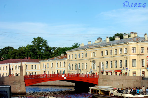 The Red Bridge in St. Petersburg Russia.