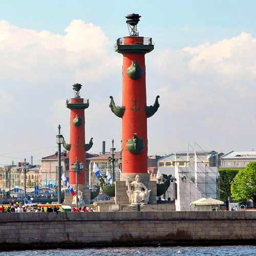 The Rostral Columns (The Symbol of St. Petersburg, Russia).