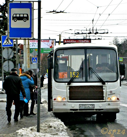 Photo of a typical Marshrutka at the bus station.