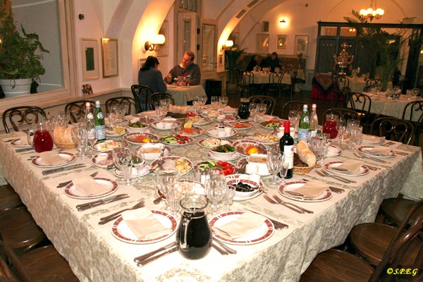 People dining at Russian Vodka Room restaurant in St Petersburg, Russia.