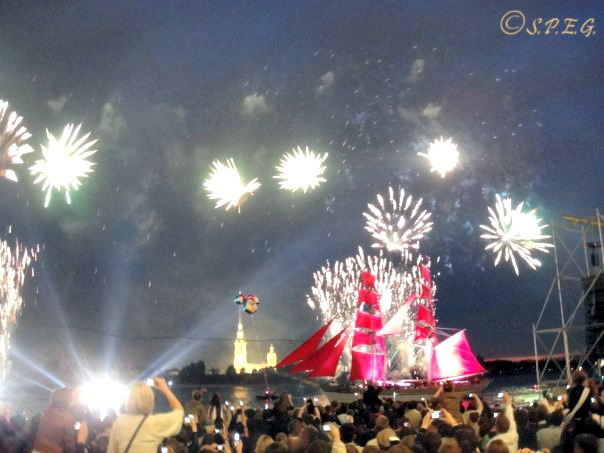 The popular Scarlet Sails feast in St Petersburg Russia during Summer.