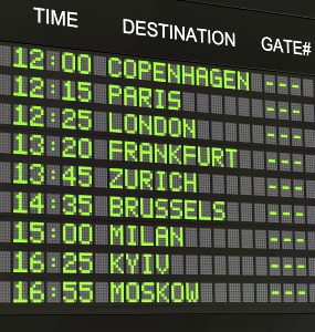 Flight timetable of the major European cities