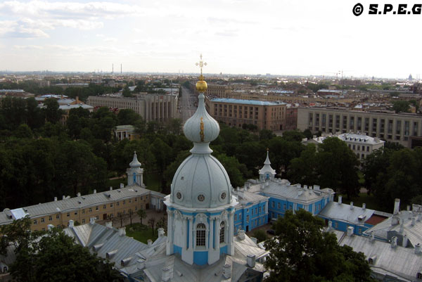 A photo of the Smolny Cathedral in St Petersburg Russia.