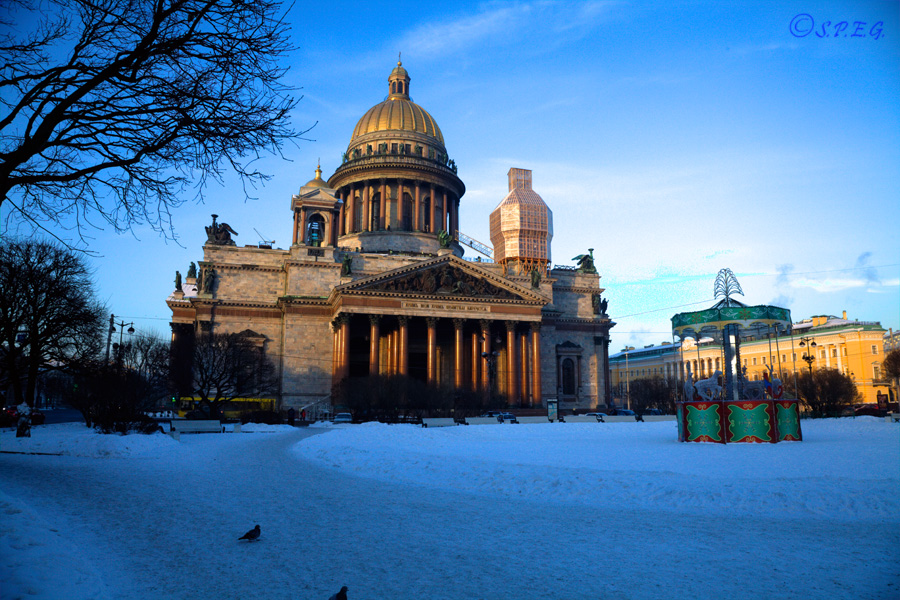 Photo of St. Isaac's Cathedral in Winter, St Petersburg, Russia.