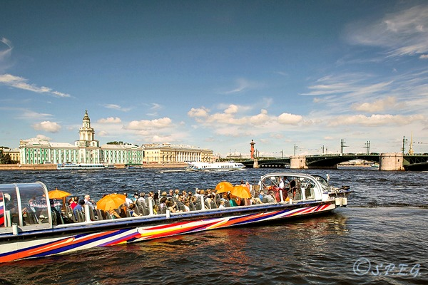 Photo of a boat tour along the Neva River in St Petersburg, Russia.