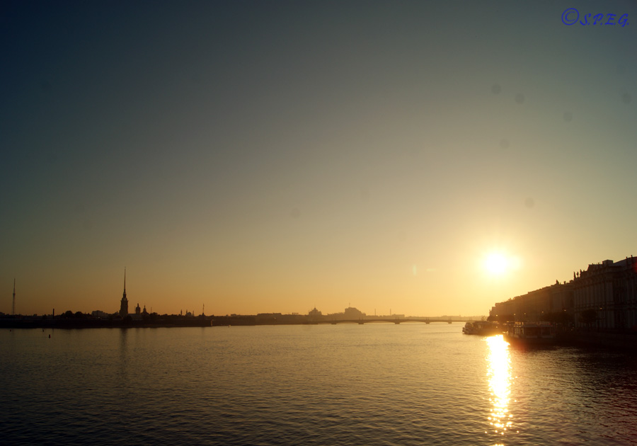 View of the Large Neva River at the sunset, St Petersburg, Russia.