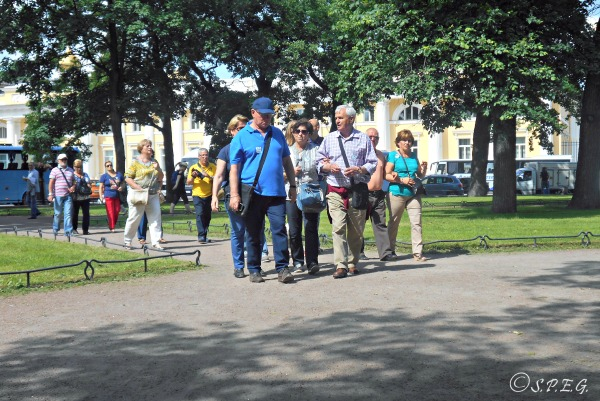 A group of people on a walking tour in St Petersburg, Russia.