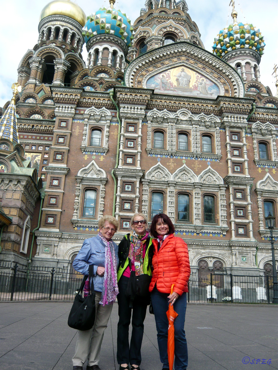 Elfriede and her friends at the Cathedral of the Resurrection, St Petersburg, Russia.