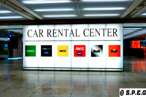 Car Rental Airport sign at Pulkovo airport.