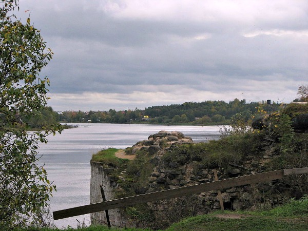 View of Staraya Ladoga from the bank of the Volkhov bank, Russia.