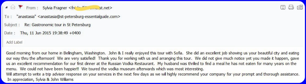 Feedback submited by Sylvia F. from USA in June 2015.