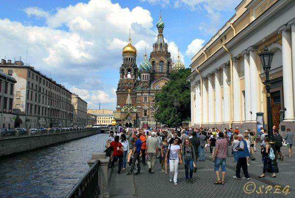 The popular Church on the Spilled Blood in St. Petersburg, Russia.