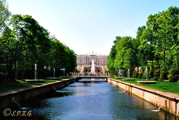 The Grand Palace in Peterhof, St. Petersburg Russia.