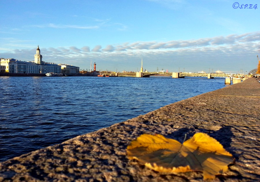 View of the Neva River, St Petersburg, Russia.