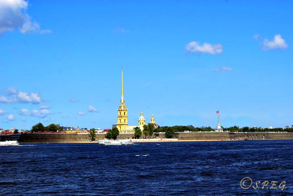 A view of Peter and Paul Fortress on the small Hare Island.