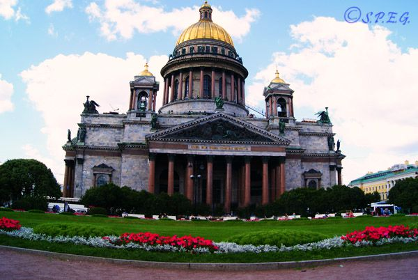 The famous St. Isaac Cathedral in St. Petersburg Russia.
