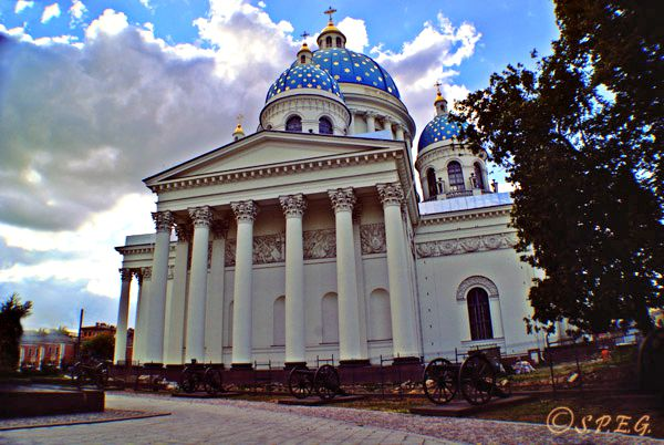 A photo of the Trinity Cathedral in St Petersburg Russia.