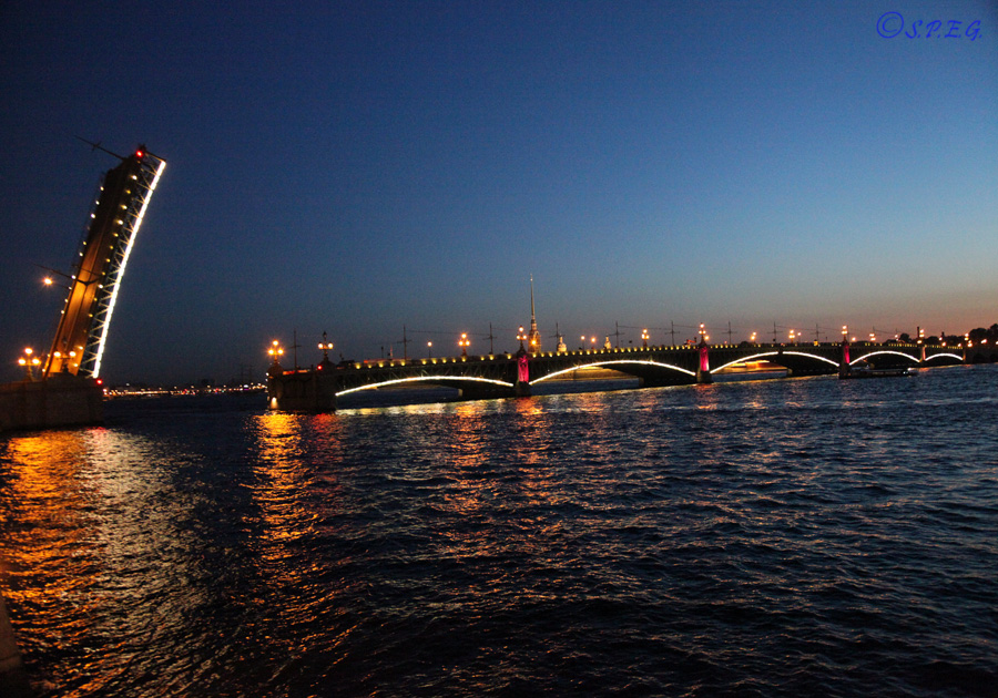 Troitskiy Bridge, St Petersburg, Russia.