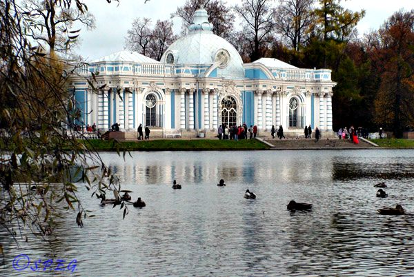 A lake inside Catherine Park in Tsarskoye Selo,  Russia.