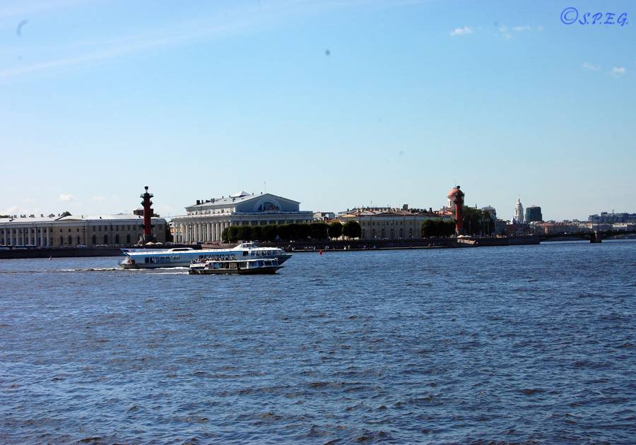 View of Vasilyevsky Island during summer, St Petersburg, Russia.