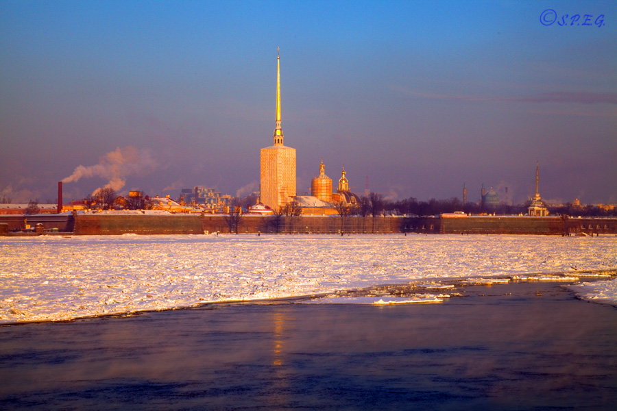 View of Peter and Paul Fortress on Hare's Island during Winter, St Petersburg, Russia.