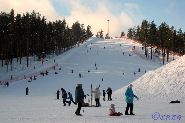People skiing outside St Petersburg, Russia.