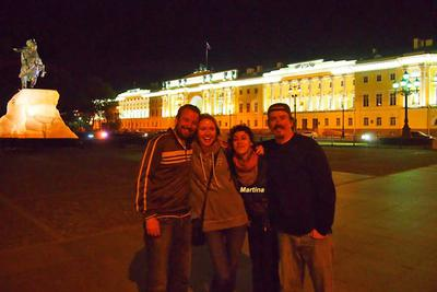 Martina with her friends taking a photo near the Bronze Horseman monument in St. Petersburg, Russia.